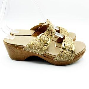 Dansko Sophie Wedge Heels Leather Sandals Snake